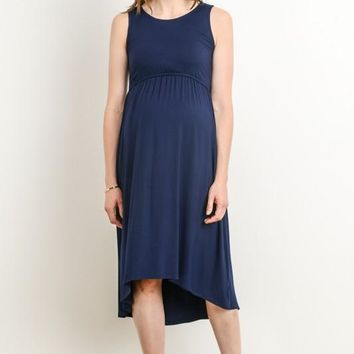 """Ellie"" Navy Maternity/Nursing Easy Dress"