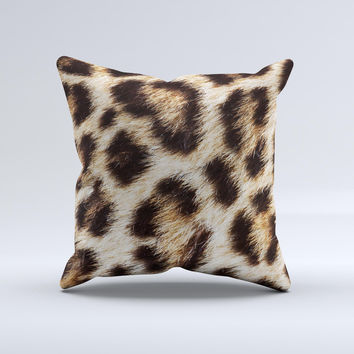 Leopard Furry Animal Hide ink-Fuzed Decorative Throw Pillow
