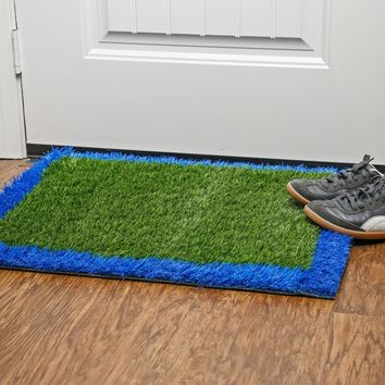"Outside & Inside Grass Doormat - 24""X30"" Non Skid Waterproof Entryway Door Mat Removes Dirt Debris Mud and Snow - Clean In Seconds With Hose"