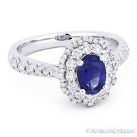 1.52 ct Oval Blue Sapphire & Diamond Pave Halo Engagement Ring in 18k White Gold