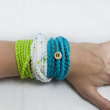 Set of 3 crochet wrap bracelet, infinity bracelet, crochet necklace, crochet cuff, wrist band,