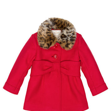 Kate Spade Babies' Faux Fur Collar Coat Fairytale Red