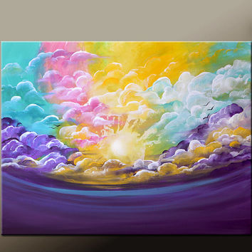 "Abstract Canvas Art Painting 30x24"" Original Contemporary Landscape Cloud Tree Art by Destiny Womack - dWo - On a Cloudy Day"