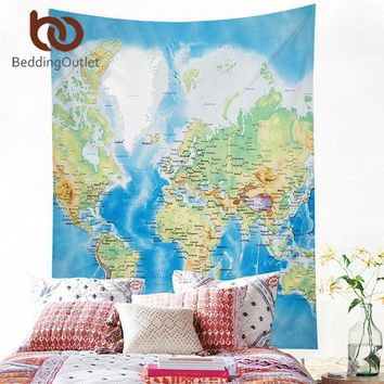 Wall Tapestries World Map Tapestry Blue Printed