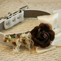 Floral Dog collar, Country rustic Pet Wedding, Neutral, Country Western Wedding
