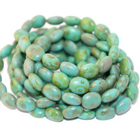 Picasso Czech Glass Beads Green Turquoise Oval Round Original Exclusive Authentic 11mm x 9mm 10pc