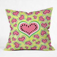 Lisa Argyropoulos Watermelon Love Sunny Yellow Outdoor Throw Pillow