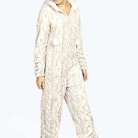 Milly Luxe Cable Fur Lined Pom Pom Trim Onesuit