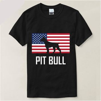 American Pitbull Standing Proud American Flag T-shirt - Dog Tee