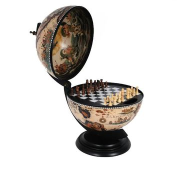 White Globe 13 inches with chess holder Hancrafted Globes & Globe Bars