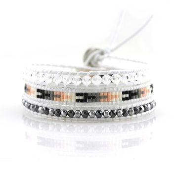 Hematite and Crystal with Miyuki Glass Seed Beads on White Leather Wrap Bracelet