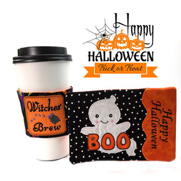 Halloween Mat Cozy Set~ Coffee Mug Rug~Snack Mat Placemat Coasters~Coffee Wrap Cozie Coozie~Ghost-Witch Hat~Halloween Decor Gift Ideas~