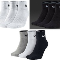 Nike Socks Quarter Sport Everyday Cushioned Mens Womans Socks 3 pairs 1 pack