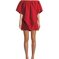Valentino Pleated Off-Shoulder Cady Dress