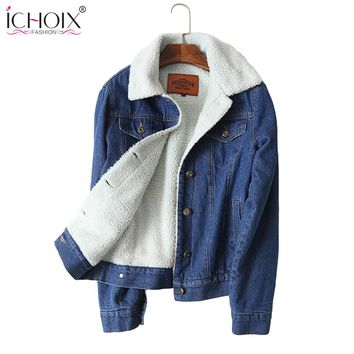 2017 Winter Women Fur Denim Jacket Bomber Vintage Jacket Blue Jean Coat With Full Warm Lining & Front Button Flap Pocket Outwear