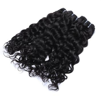 Water Wave Peruvian Human Hair 3 Bundles Deal 10-28 Inch Hair Weave Natural Color Remy Hair