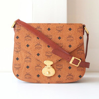 MCM Bag Visetos Cognac Brown Monogram Shoulder handbag Authentic Vintage purse