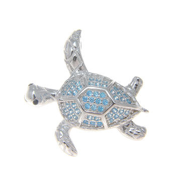 925 Silver Rhodium Genuine Blue Topaz Hawaiian Sea Turtle Honu Slider Pendant
