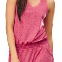 Laura Women's High Quality Chemise One Piece Pajama Fuchsia Jumper #501037