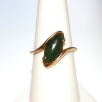 Vintage 1970's Green Stone Ring, Signed Coventry, Modernist