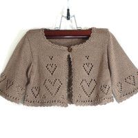 Knitted Baby Bolero Jacket - Light Brown, 2 - 2.5 years