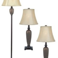Elegant Designs LC1000-HBZ Three Pack Lamp Set (2 Table Lamps, 1 Floor Lamp), Hammered Bronze