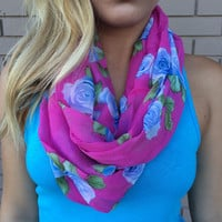 Blue Rose Infinity Scarf