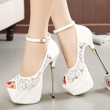 Romantic Lace Super Party Platform High Heels Ankle Strappy Wedding Shoes = 5708927105