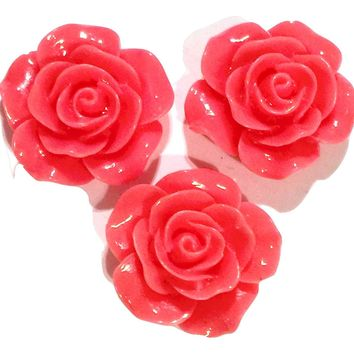 Salmon pink flower resin cabochon 18mm / 1-5 pieces