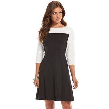 LMF7GX Chaps Colorblock A-Line Dress - Petite Size