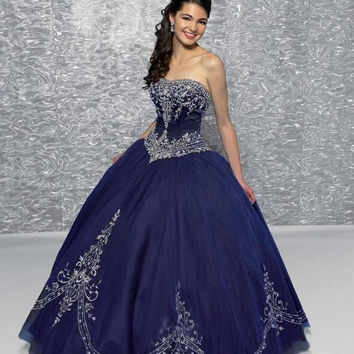 2017 Exquisite Embroidery Quinceanera Dresses Hot Sale Ruffle Navy Blue Color Tulle Sleeveless Lace Up Floor Length New 2016