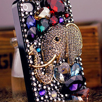 Luxurious Big Shining Diamond And Little Elephant iPhone 5 Case, iphone 4 case, iphone 4s case, Apple iPhone case, iphone 5 case