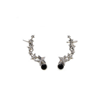 Rock Star Sterling Silver Ear Crawler With Onyx Earring