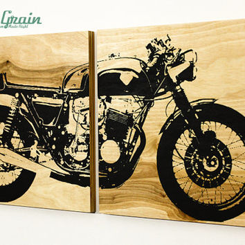 Custom Motorcycle Wall Art - Cafe Racer on Woodgrain panels - Garage Art