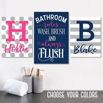 Brother Sister BATHROOM Wall Art Canvas or Prints Child Kid Bathroom Decor, Shared Boy Girl Bathroom Decor Wash Brush Flush Rules Set of 3