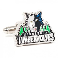 NBA Mens Black Plated Minnesota Timberwolves Cufflinks