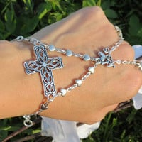 Cross Slave Bracelet, I love Jesus Bracelet, Bracelet Ring, Hand Chain, Hand Jewelry,Christian, Faith, I belong to Jesus, Statement Bracelet