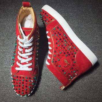 CREYNW6 Cl Christian Louboutin Louis Spikes Style #1829 Sneakers Fashion Shoes