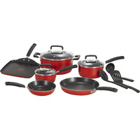 12 Piece Nonstick Cookware Set In Red