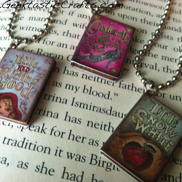 Fairy Tale Book Necklace: Red Riding Hood, Snow White, and Cinderella