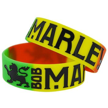 25pcs/lot Segemented Colour Silicone Bracelet for Bob Marley Fans Gift Wristband