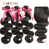 Karizma Body Wave 3 Bundles With Closure Brazilian Hair Weave Bundles Human Hair Bundles With Closure Non Remy Hair Extensions