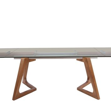 Modrest Ruthie Modern Smoked Glass & Walnut Extendable Dining Table