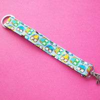Key FOB / KeyChain / Wristlet - little owls on blue