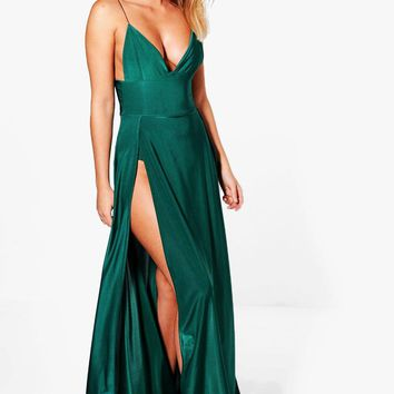 Lilibeth Double Thigh Split Slinky Maxi Dress