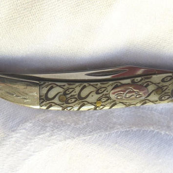CASE XX Knife, Tiny Toothpick Pocket Knife, Etched Handle, Etched Arrowhead End, Vintage Case XX 610096