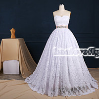 elegant white a-line strapless wedding dresses gowns chapel train,simple puffy white lace wedding dress,gorgeous wedding reception dress