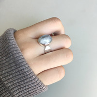 Silver Rainbow Moonstone Ring, Moonstone Ring, Boho Ring, Bohemian Ring, Statement Ring, Gypsy Ring, Moonstone Jewelry, Bohemian Jewelry