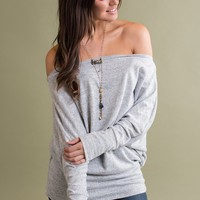 Beloved Beauty Off The Shoulder Top (Heather Grey)