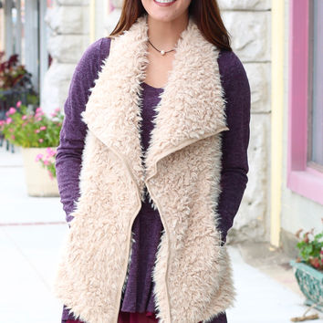Warm + Fuzzy Feelings Fur Vest {Beige}